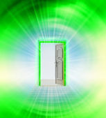 Opened door in green sky space wind vortex — Stock Photo
