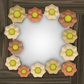 Orange blossom square frame on wooden surface — Stock Photo