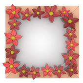 Beautiful isolated red blossom square frame — Stock Photo