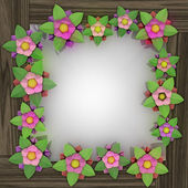 Five leaf blossom square frame on wooden surface — Stock Photo