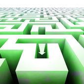 Labyrint zelené struktura v souvislostí s šipkou — Stock fotografie