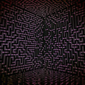 Dark shaded three dimensional technology maze — Stock Photo