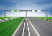 Left green eco faster highway track — Stock Photo