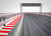 Race circuit finish line perspective — 图库照片