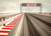 レース回路フィニッシュ ライン上のタイヤのドリフト — ストック写真