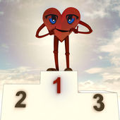 Heart health figure and victory ceremony — Stock Photo