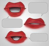 üç ağız ile boş kabarcık karikatür — Stok fotoğraf