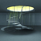Spiral staircase with yellow flare from down view — 图库照片