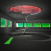 Spiralne schody prowadzące z zieloną strzałką — Zdjęcie stockowe