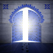 Opened blue doorway with radiance — 图库照片