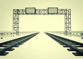 Two railroads in corridor with construction — Stock Photo