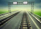Transformation of motorway to ecological rail transport — Stock Photo