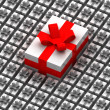 One big present box over other smaller — Stock Photo