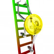 Stock Photo: Dollar coin robot climbs up ladder illustration