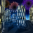Shiny colorful pyrotechnics show in modern business city — Stock Photo