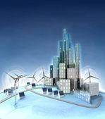 Ecologische stad ontwikkeling, algemene weergave met windmolens — Stockfoto