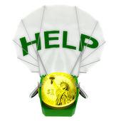 Dollar coin robot parachutist help illustration — Stock Photo