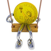 Dollar coin robot swinging on a swing front view illustration — Stock Photo