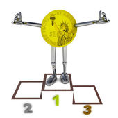 Dollar coin robot as winner standing on podium ceremony illustration — Stock Photo