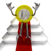 Euro coin robot sitting on red carpet perspective illustration — Stock Photo