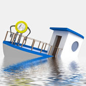 Euro coin sinking during cruise illustration — Stock Photo