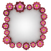 Beautiful isolated lovely red blossom square frame — Zdjęcie stockowe