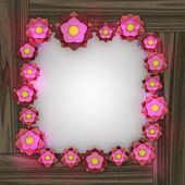 Pink red blossom square frame on wooden surface — Zdjęcie stockowe