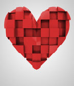 Red romantic heart cubic composition — Stock Photo