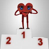 Srdce postava a zdraví vítězství obřad — Stock fotografie