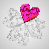 Red heart in dimensional cloverleaf black and white composition — Stock Photo