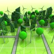 Stock Photo: Windmill powered city grid concept