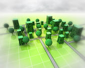 Green city ortogonal structure background — Stock Photo