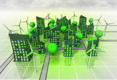 Windmill powered city organism concept — Stock Photo
