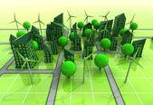 Conceito da rede moinho powered cidade — Foto Stock