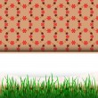 Grass stripe down with blank place and red pattern vector — Stock Vector #22365481