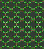 Green red blossom pattern on dark background vector — Stock Vector