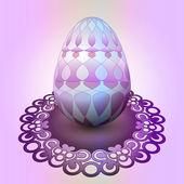 Handmade easter egg on ornamental tray vector — 图库矢量图片