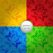 Vier gekleurde bloemen vector patroon set — Stockvector