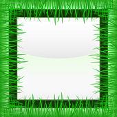 Grass inner green square frame vector — Stock Vector