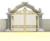 Altın giriş üzerinde beyaz izole kapalı — Stok fotoğraf