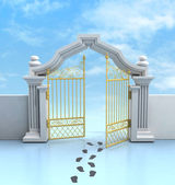 Opened golden entrance with footprints and sky — Stock Photo