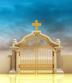 Closed golden entrance to paradise with sky — Stock Photo