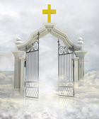 Semi opened entrance to Gods paradise in sky — Stock Photo