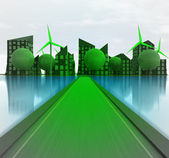 Green road to windmill city island concept — Stock Photo