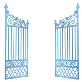 Isolated steel decorated baroque open gate vector — Stock Vector
