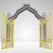 Heavenly gate with open gold fence vector — Stock Vector