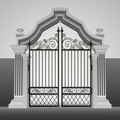 Baroque entrance gate with iron fence vector — Stock Vector