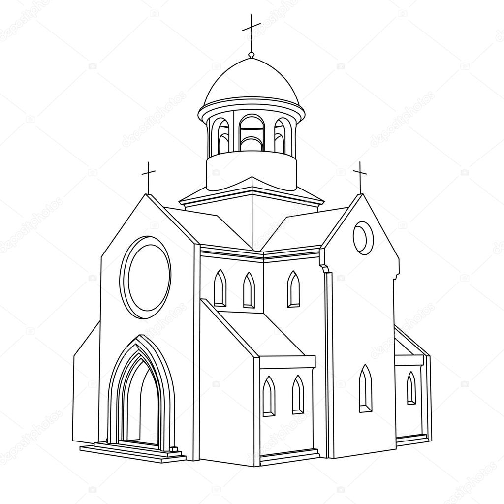 Vector Drawing Lines Html : Line art ancient basilica drawing vector — stock