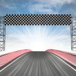 Formula racing finish line view with sky — Stock Photo