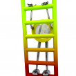Stock Photo: Euro coin robot climbs up ladder illustration